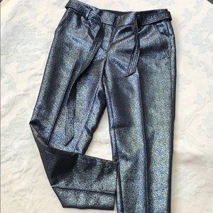 LOFT Black & Silver Metallic Pants